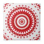 Elegant White Red Scandinavian Folk Lace Textile Tiles