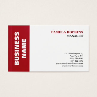 ELegant White Red Striped Manager Minimalist Style Business Card