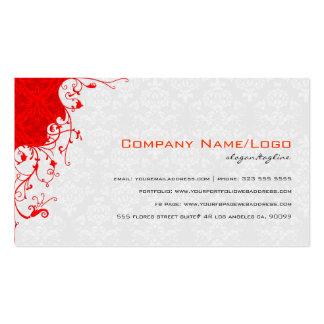 Elegant White & Red Vintage Floral Damasks Double-Sided Standard Business Cards (Pack Of 100)