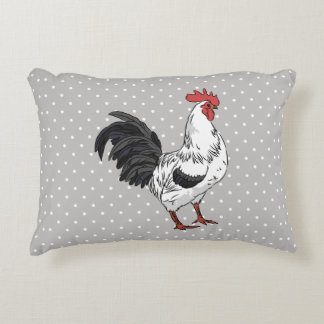 Elegant White Rooster Accent Pillow