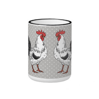 Elegant White Rooster Coffee Mug