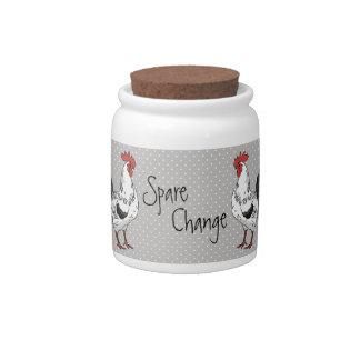 Elegant White Rooster Corked Jar Candy Jars