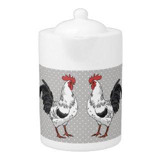 Elegant White Rooster Porcelain Teapot