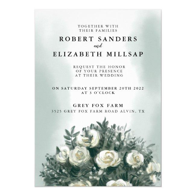 Elegant White Rose Bouquet Wedding Invitation