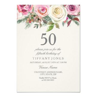 Elegant White Rose Floral 50th Birthday Invite