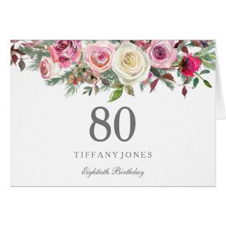 Elegant White Rose Floral 80th Birthday Thank you Card