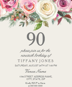 90th birthday invitations 1300 90th birthday announcements invites elegant white rose floral 90th birthday invite filmwisefo