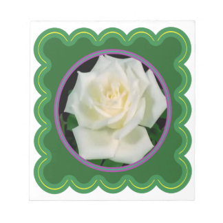 Elegant white rose flower floral graphic 100 gifts notepad
