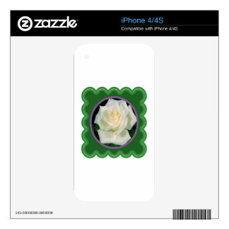 Elegant white rose flower floral graphic 100 gifts iPhone 4 skins