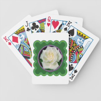 Elegant white rose flower floral photo on 100 gift bicycle playing cards