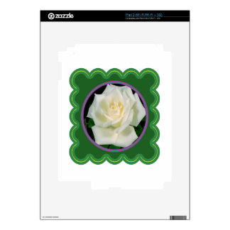 Elegant white rose flower floral photo on 100 gift decals for iPad 2