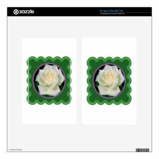 Elegant white rose flower floral photo on 100 gift skin for kindle fire