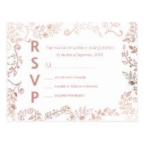 Elegant White Rose Gold Floral RSVP Postcards