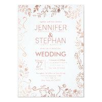 Elegant White Rose Gold Floral Wedding Invitation