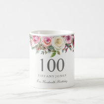 Elegant White Rose Pink Floral 100th Birthday Coffee Mug