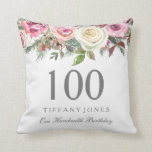 "Elegant White Rose Pink Floral 100th Birthday Throw Pillow<br><div class=""desc"">Elegant White Rose Pink Floral 100th Birthday Thow Pillow