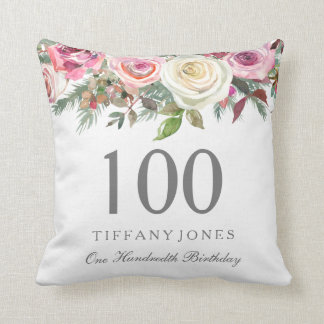 Elegant White Rose Pink Floral 100th Birthday Throw Pillow