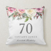 Elegant White Rose Pink Floral 70th Birthday Throw Pillow