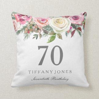 Elegant White Rose Pink Floral 70th Birthday Throw Pillow
