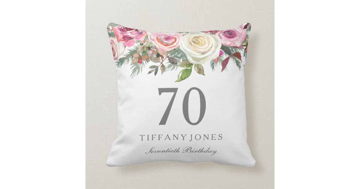 Elegant White Rose Pink Floral 70th Birthday Throw Pillow gift ideas for her