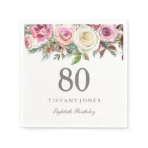 Elegant White Rose Pink Floral 80th Birthday Napkin