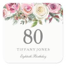Elegant White Rose Pink Floral 80th Birthday Square Sticker