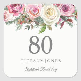 Elegant White Rose Pink Floral 80th Birthday Square Sticker