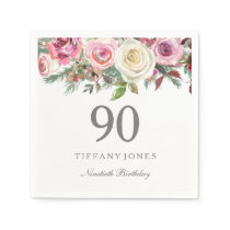 Elegant White Rose Pink Floral 90th Birthday Napkin