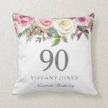 "Elegant White Rose Pink Floral 90th Birthday Throw Pillow<br><div class=""desc"">Elegant White Rose Pink Floral 90th Birthday Thow Pillow