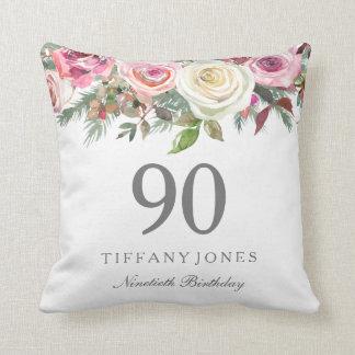 Elegant White Rose Pink Floral 90th Birthday Throw Pillow
