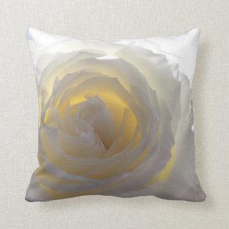 Elegant White Rose Throw Pillows