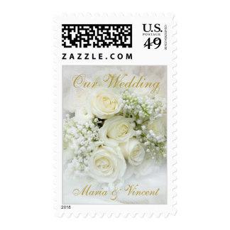 Elegant white roses bouquet stamp