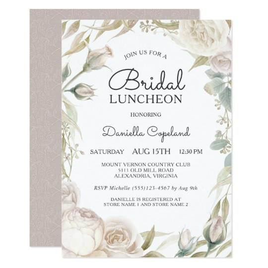Elegant White Roses Bridal Luncheon Invitation Zazzle Com