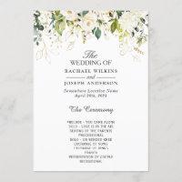 Elegant White Roses Floral Wedding Program