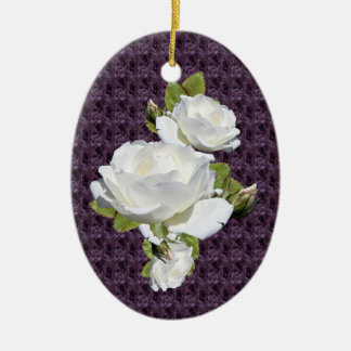Elegant White Roses Oval Ornament