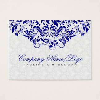 Elegant White & Royal Blue Damasks & Swirls Business Card