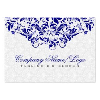 Elegant White & Royal Blue Damasks & Swirls Large Business Cards (Pack Of 100)