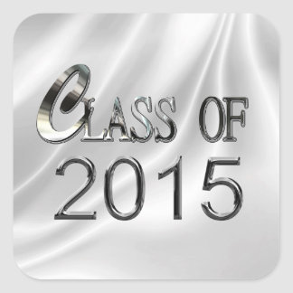 Elegant White Satin Class Of 2015 Grad Stickers