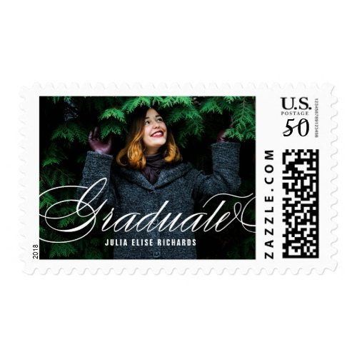 Elegant White Script Photo Graduation Stamp