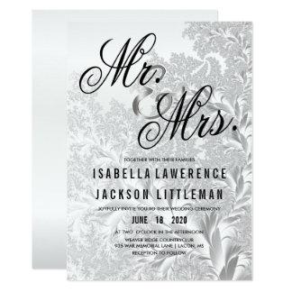 Elegant White Silver Fractal Wedding Card