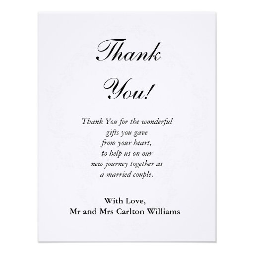 Wedding Gift Thank You Poems For Guests : Elegant White/Silver Wedding Flat Thank You Card 4.25