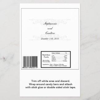 Elegant White/Silver Wedding Large Candy Bar Wrap