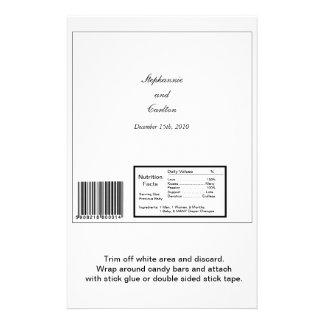 Elegant White/Silver Wedding Large Candy Bar Wrap Flyer