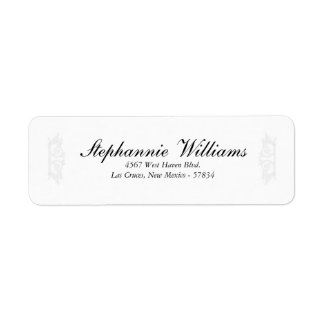 Elegant White/Silver Wedding Return Address Label