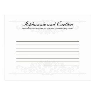 Elegant White/Silver Wedding Writable Advice Card