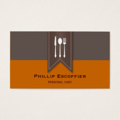 Elegant White Silverware Chef Bistro Business Card at Zazzle