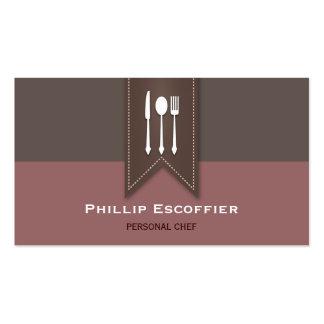 Elegant White Silverware Chef Bistro Business Card