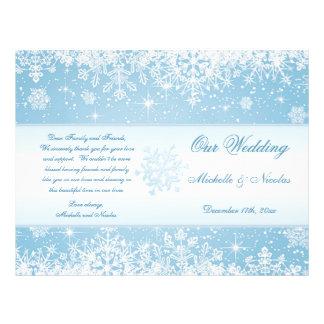 Elegant white snowflakes on blue  Wedding Program