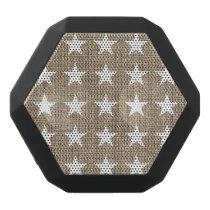 Elegant White Stars and Burlap Pattern Black Bluetooth Speaker