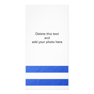 Elegant White Stripes Blue Foil Printed Card